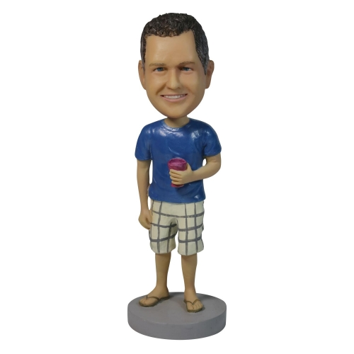 man in shots bobble head