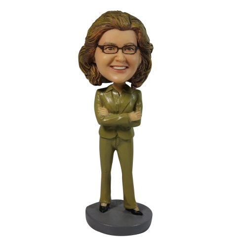 female in brown suit bobble head