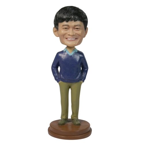 casual man in sweater bobble head