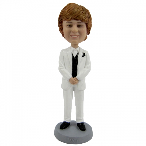 man in white suit bobble head