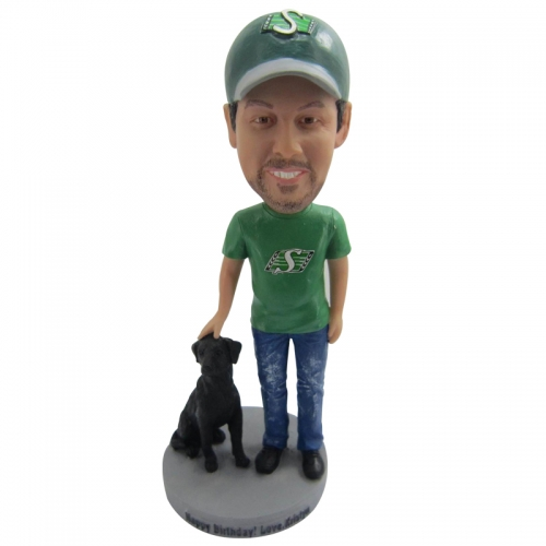 man with dog bobble head