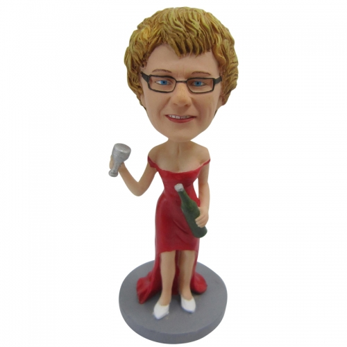 woman with red wine bobble head